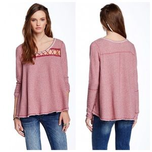 Free People Lacey Love Pullover Sweater Berry M